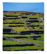 Rock Walls Of Inisheer, Aran Islands Fleece Blanket by James Truett