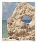 Rock With A Hole With A Tropical Ocean In The Background. Fleece Blanket