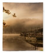 Rockaway Beach Dock 2 Fleece Blanket