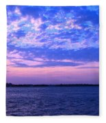Rockaway Point Dock Sunset Violet Orange Fleece Blanket