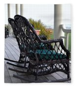 Rocking Chairs On The Porch Fleece Blanket