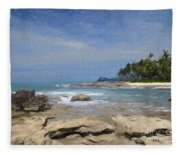 Rocks Trees And Ocean Fleece Blanket