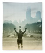 Rocky At The Top Of The Steps Fleece Blanket