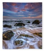 Rocky Beach At Sandy Hook Fleece Blanket