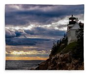 Rocky Cliffs Below Maine Lighthouse Fleece Blanket