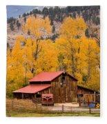 Rocky Mountain Autumn Ranch Landscape Fleece Blanket