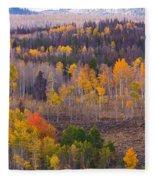 Rocky Mountain Autumn View Fleece Blanket