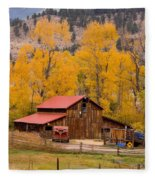Rocky Mountain Barn Autumn View Fleece Blanket