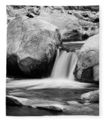 Rocky Mountain Canyon Waterfall In Black And White Fleece Blanket
