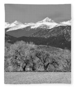 Rocky Mountain View Bw Fleece Blanket