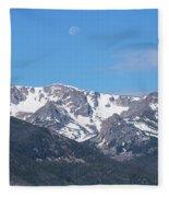 Rocky Mountain Waning Gibbous Moon Set Fleece Blanket