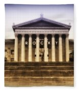 Rocky On The Art Museum Steps Fleece Blanket