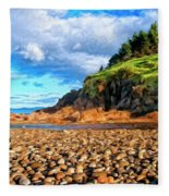 Rocky Oregon Beach Fleece Blanket
