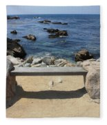 Rocky Seaside Bench Fleece Blanket