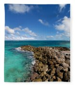 Rocky Shoreline On The Beach At Atlantis Resort Fleece Blanket