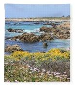 Rocky Surf With Wildflowers Fleece Blanket