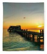 Rod And Reel Pier Sunrise 2 Fleece Blanket