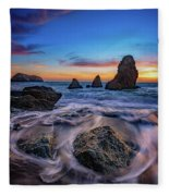 Rodeo Beach Sunset Fleece Blanket