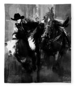 Rodeo In Black Fleece Blanket