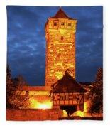 Rodertor At Twilight In Rothenburg Fleece Blanket