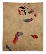 Roger Federer Watercolor Portrait On Worn Canvas Fleece Blanket
