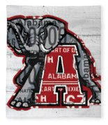 Roll Tide Alabama Crimson Tide Recycled State License Plate Art Fleece Blanket