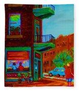 Rollerblading  Past The Cafe Fleece Blanket