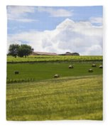 Rolling Green Hills With Trees Fleece Blanket