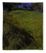 Rolling Hills With Poppies Fleece Blanket