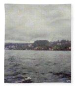 Rolling Waves In A Swiss Lake Fleece Blanket