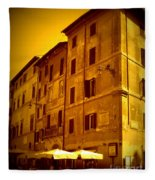 Roman Cafe With Golden Sepia 2 Fleece Blanket