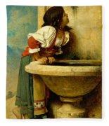 Roman Girl At A Fountain Fleece Blanket