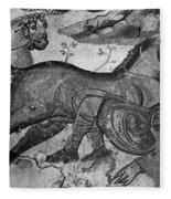 Roman Mosaic: Man & Horse Fleece Blanket