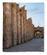 Roman Ruins At Jerash, Jordan  Fleece Blanket