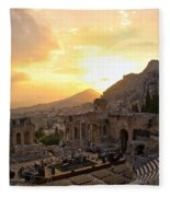 Roman Theater In Taormina IIi Fleece Blanket