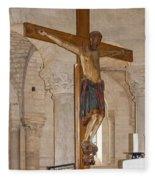 Romanesque Abbey Crucifix Fleece Blanket