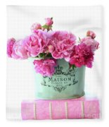 Paris Red Pink Peonies Maison Flowers Pink Book - French Aqua Pink Peonies Books Wall Decor Fleece Blanket