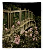 Romantic Garden And Bridge Fleece Blanket