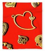 Romantic Heart Decorations Fleece Blanket