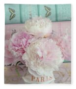 Paris Peonies Floral Books Art - Pink And Aqua Peonies Books Decor - Shabby Chic Peonies  Fleece Blanket
