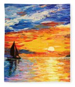 Romantic Sea Sunset Fleece Blanket