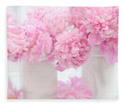 Shabby Chic Pastel Pink Peonies - Pink Peonies In White Mason Jars Fleece Blanket