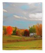 Romantic Skies Autumn Farm Fleece Blanket
