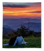 Romantic Smoky Mountain Sunset Fleece Blanket