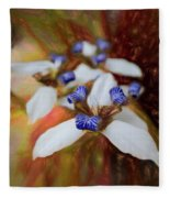 Romantic Textured Island Lilies  Fleece Blanket
