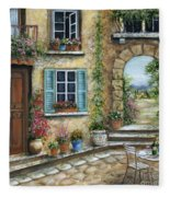 Romantic Tuscan Courtyard II Fleece Blanket
