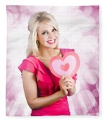 Romantic Woman With Heart Shape Valentine Card Fleece Blanket