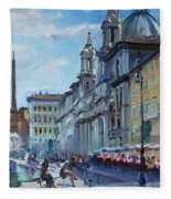 Rome Piazza Navona Fleece Blanket
