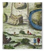 Rome: Seven Hills, 18th C Fleece Blanket