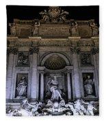 Rome, Trevi Fountain At Night Fleece Blanket